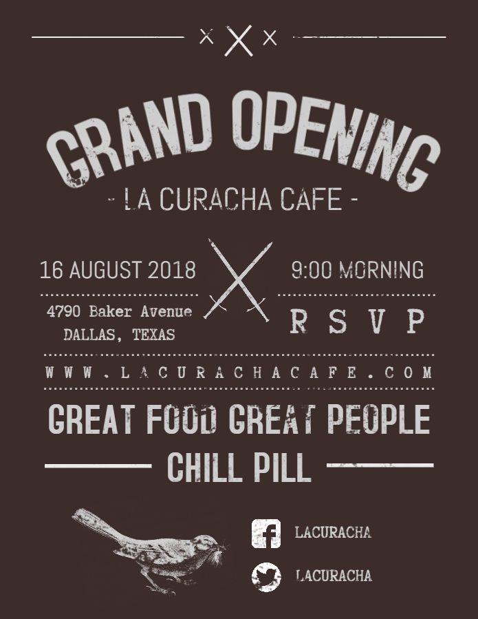 Vintage Restaurant Cafe Grand Opening Poster Flyer Template