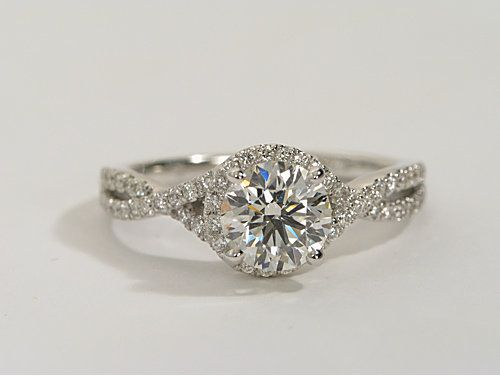 Twisted Halo Diamond Engagement Ring in 14k White Gold | Engagement #Proposal #Wedding