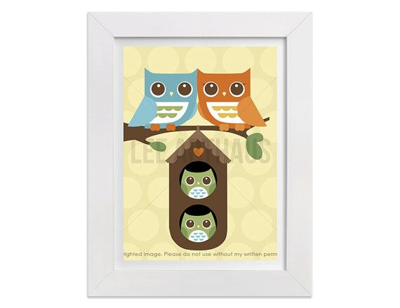 195 Twin Nursery Print  Owl Family with Twin Boys by leearthaus