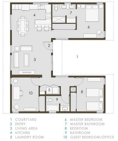 Home Floor Plans: U Shaped Home Floor Plans on