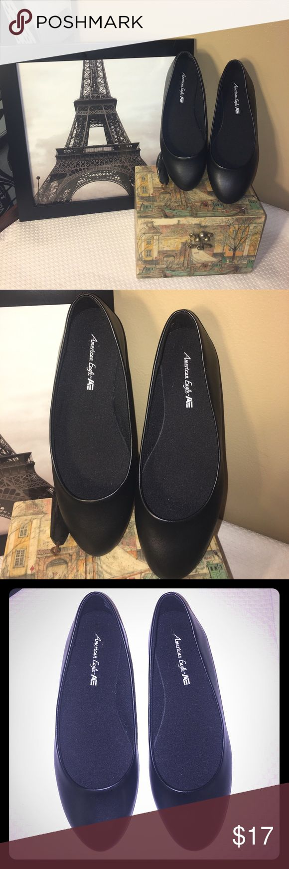 American eagle 🦅black leather flats-size 5 American Eagle 🦅 size 5 black leather flats in perfect condition American Eagle Outfitters Shoes Flats & Loafers
