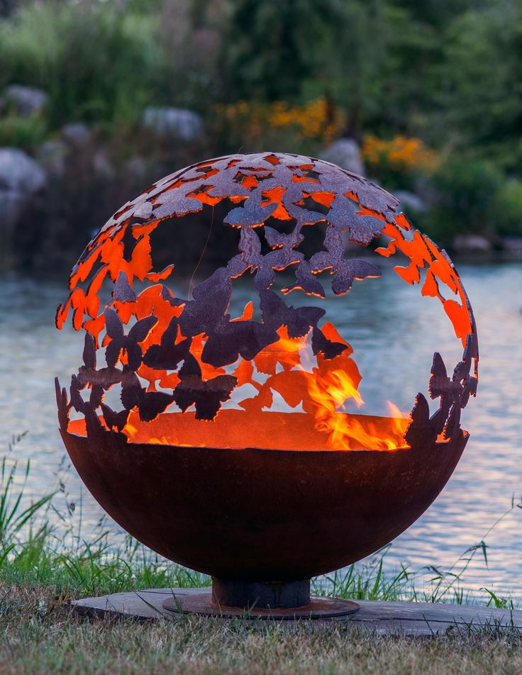 """Wings - 37"""" - Butterfly Fire Pit Sphere - Butterflies encircle this wood or gas burning firepit from The Fire Pit Gallery and designed by artist Melissa Crisp."""
