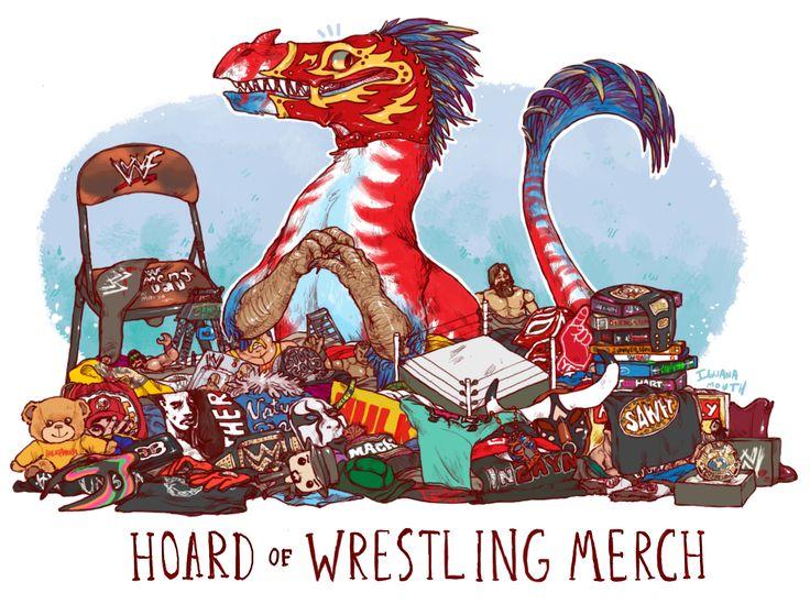 Unusual Dragon Hoards-Wrestling Merch-by Lauren Dawson