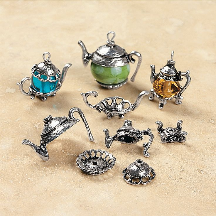 Silvertone Metal Teapot Bead Caps - OrientalTrading.com