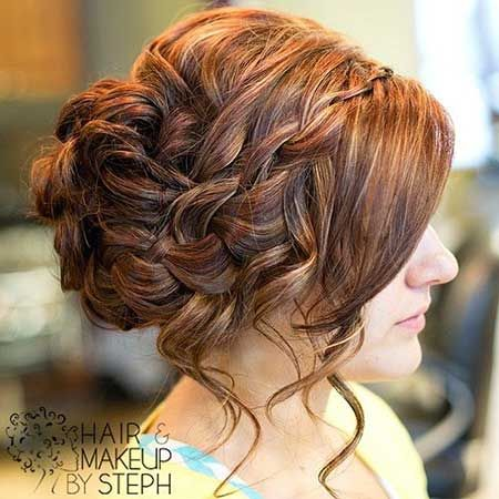 Beautifully Braided Hair with Loose Curly Bangs