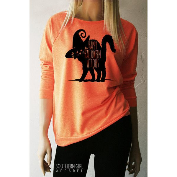 Halloween Shirts Happy Halloween Witches Witchy Sweatshirt Halloween... ($27) ❤ liked on Polyvore featuring tops, hoodies, sweatshirts, brown, women's clothing, red top, brown shirts, layered tops, rouched top and red raglan shirt