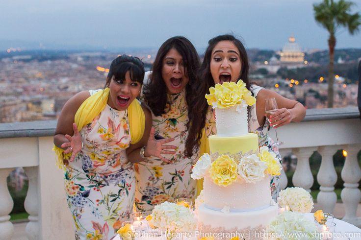Wedding in Rome...lovely white and yellow wedding cake. www.weddingsinrome.com