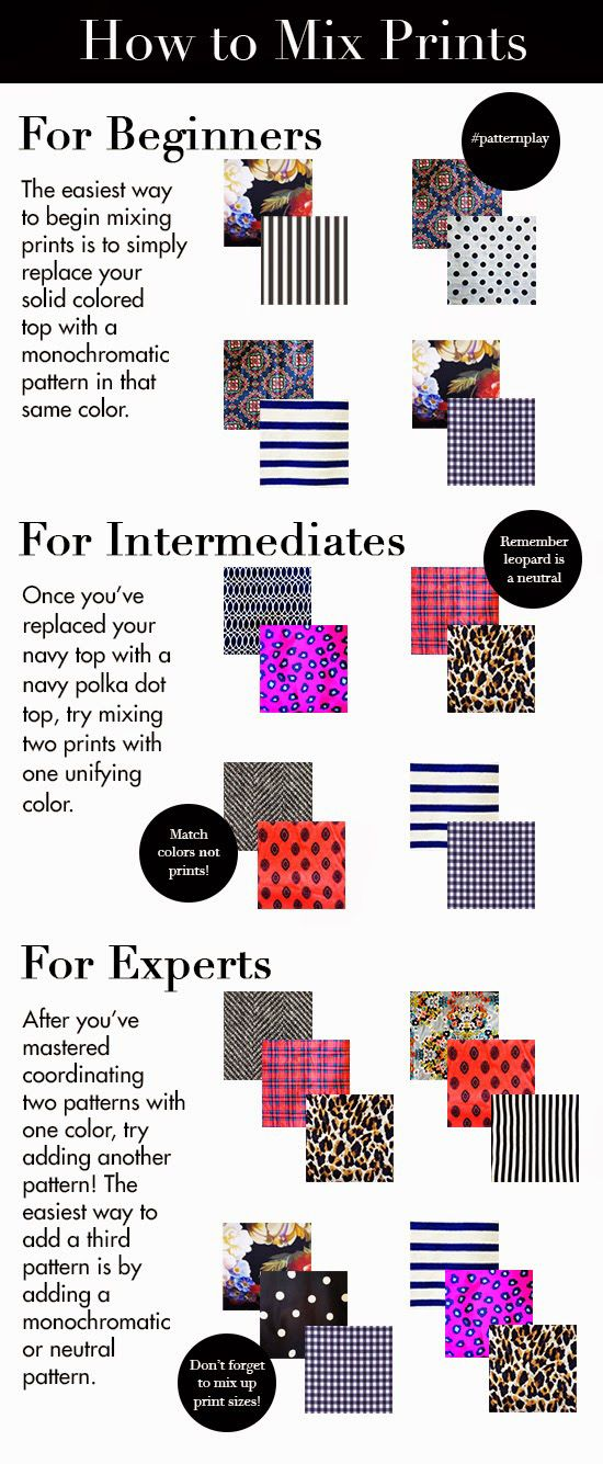 How to mix prints infographic. This blog has lots of great tips for how to dress well.