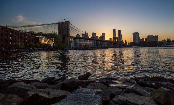Brooklyn bridge at sunset..