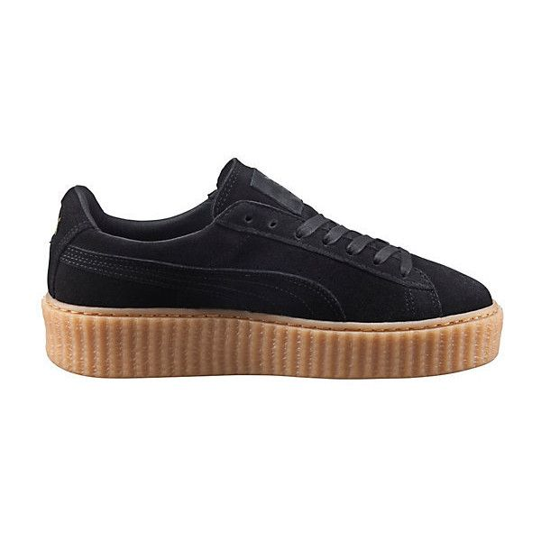 PUMA BY RIHANNA CREEPER (170 AUD) ❤ liked on Polyvore featuring shoes, sneakers, punk rock shoes, suede lace up shoes, puma shoes, lace up shoes and cat platform shoes
