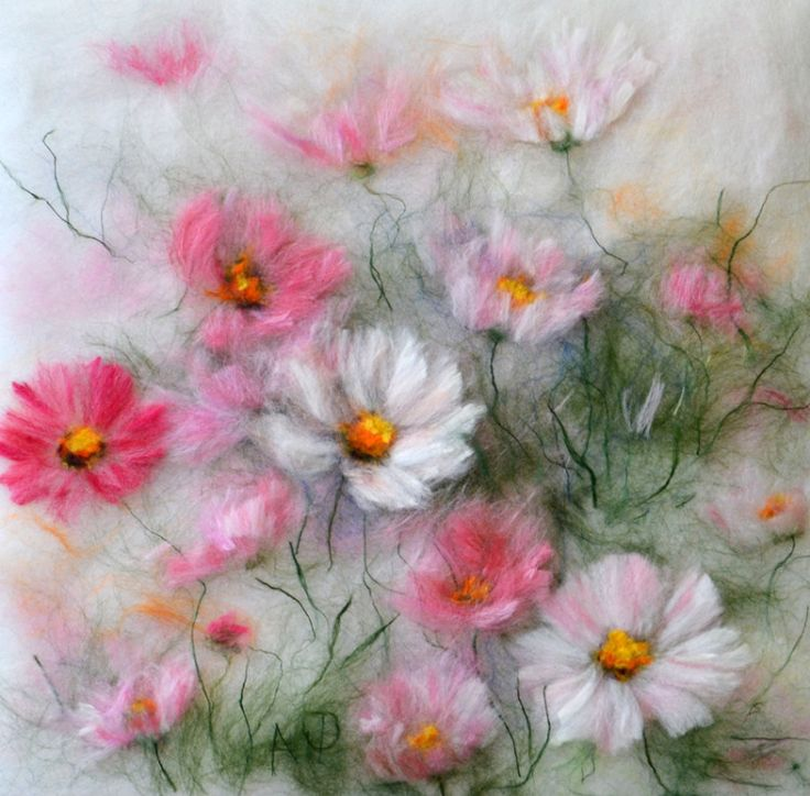 Gallery.ru / Фото #79 - Натюрморт, цветы - картины шерстью - Alexandra-Fedorova