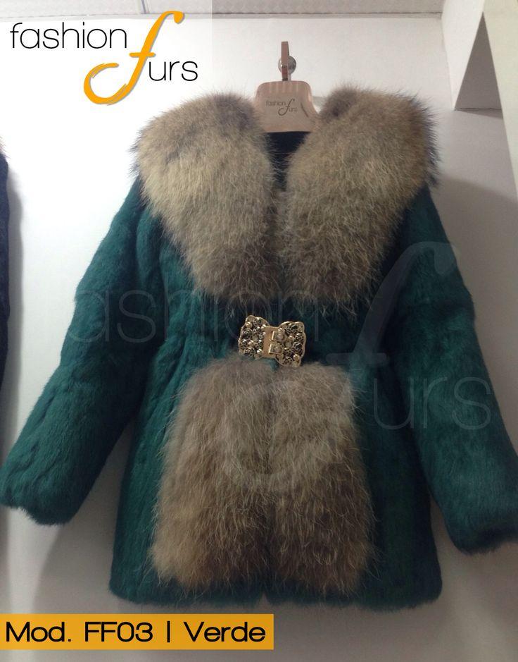 MOD FF03 VERDE   ABRIGO DE PIEL DE CONEJO CON RACCON ventas@fashionfurs.com.mx