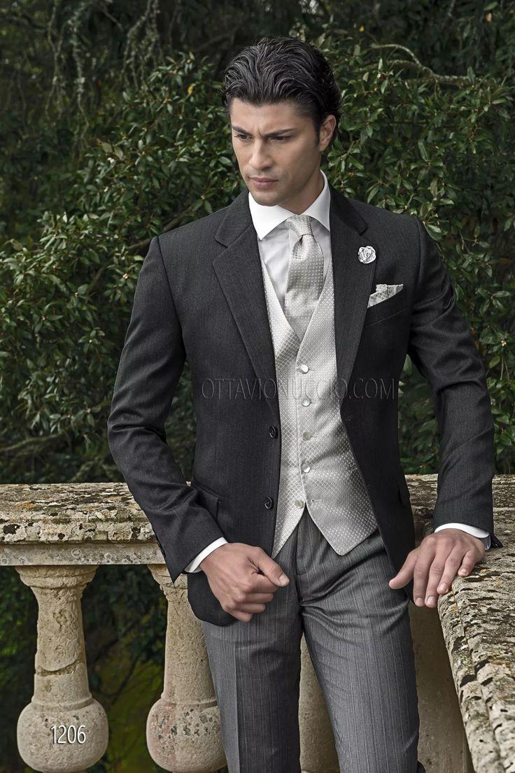 ONGala 1206 - Abito da sposo uomo con giacca in satin lana grigio melange