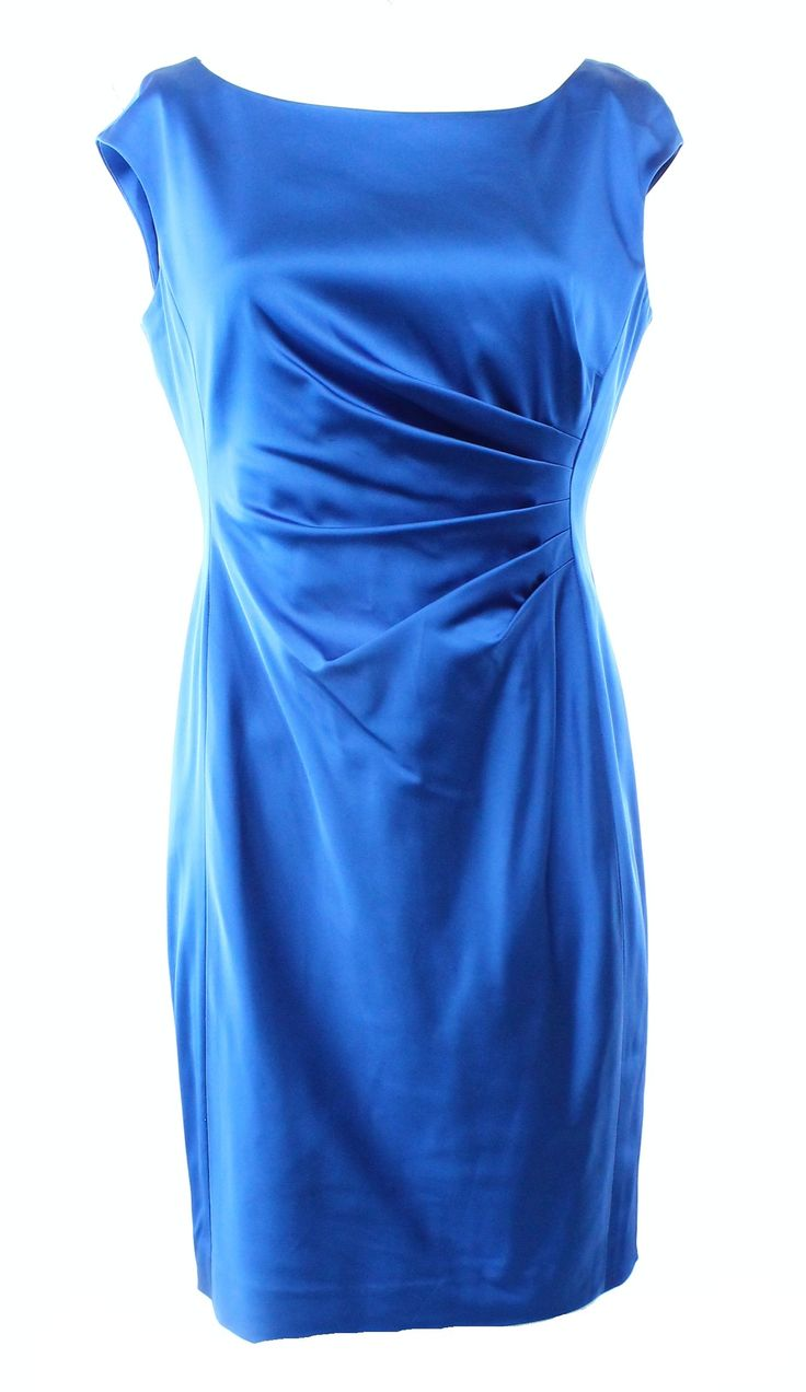 Lauren Ralph Lauren NEW Blue Women's Size 6P Petite Satin Sheath Dress $188