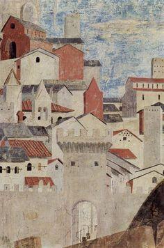 Piero della Francesca - Storie della Vera Croce: dettaglio Vista di Arezzo…