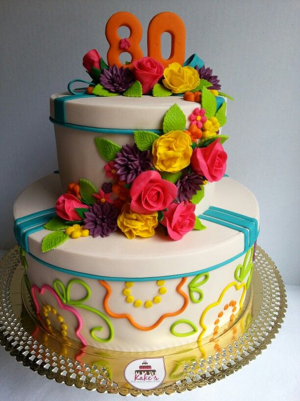Flowers Cake / 80th cake / 80th party