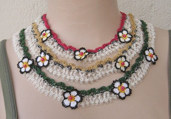 Beaded Turkish Oya necklace,organza ribbon necklace,Folkloric necklace.SOLD