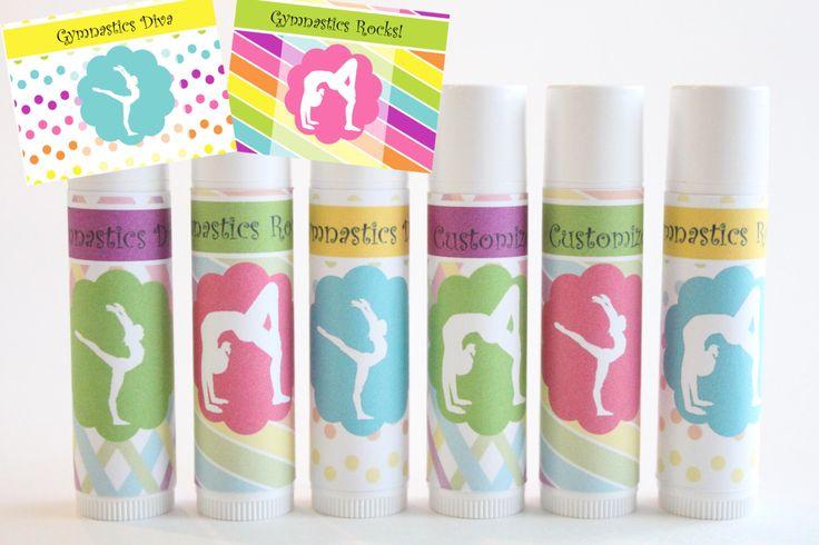 Gymnastics Party Favors - Customized Lip Balm - Kids Lip Balm - Set of 6 - Free Customization - Lip Gloss Party Favor by NanasPartyPalace on Etsy https://www.etsy.com/listing/129628120/gymnastics-party-favors-customized-lip