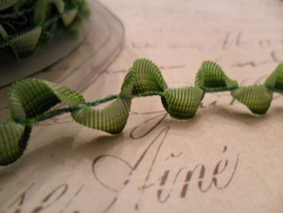 Scalloped two tone Green Ribbon Trim 3/8 wide by TinTiaraTrims, $1.15