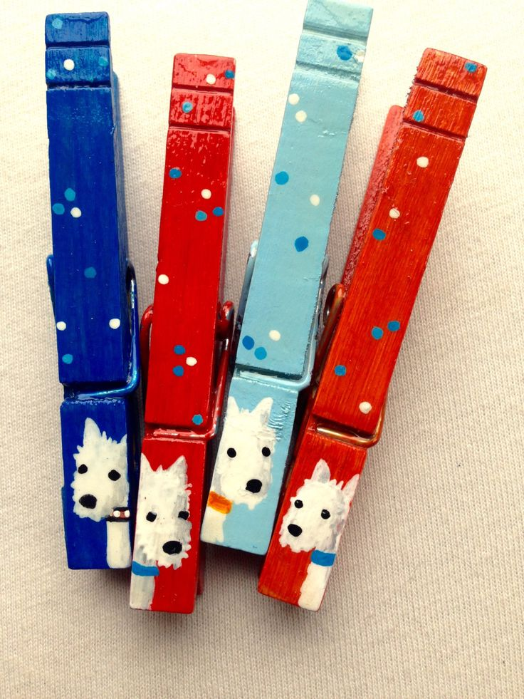 WHITE DOG CLOTHESPINS blue and red hand