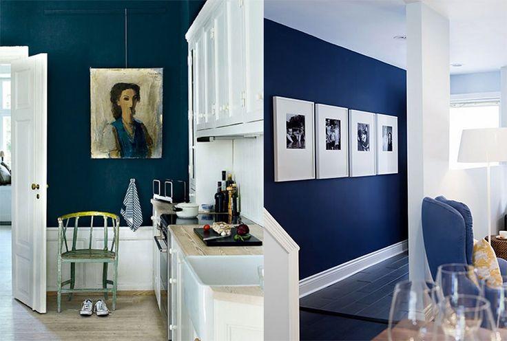 Søger du farve inspiration til dine vægge, så kig med her, hvor emnet idag er blå vægge. Det kan kræve mod at vælge mørke farver, men det giver karakter.