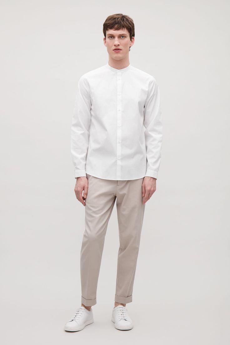 COS image 12 of Narrow grandad collar shirt in White