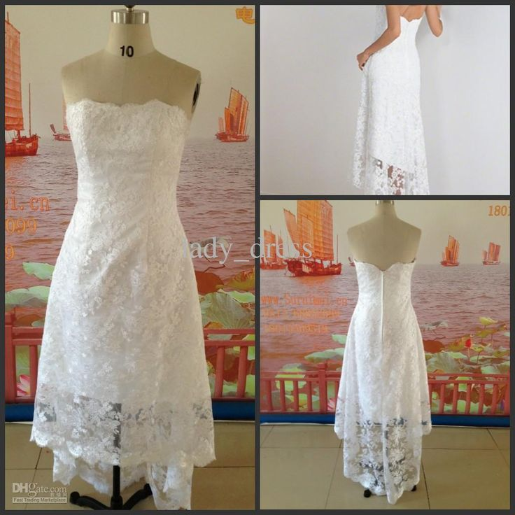 Hot Sales ! Free Shipping Lace Short Front Long Back White Casual Beach Wedding Dress 2014 Customes