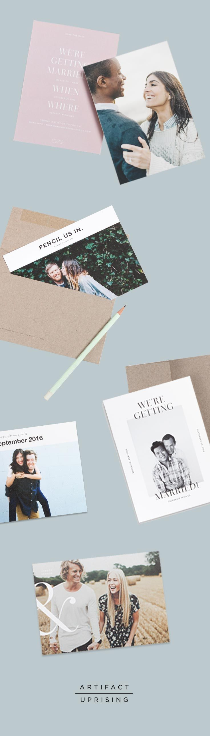 Tying the knot? @artifactuprsng's collection of Save the Dates offers classic and modern designs that can be customized on both sides with your favorite photo and the details of your wedding day. All Save the Dates are printed on premium quality 100% recycled paper.
