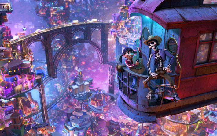 Download wallpapers Miguel, Hector, 4k, 3d-animation, 2017 Movie, Coco, Pixar