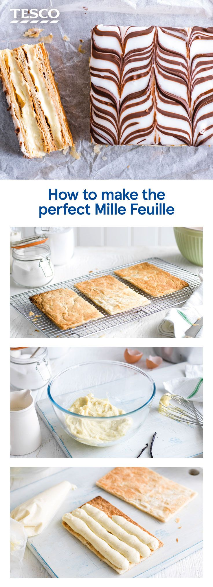 Serve up a stylish pud with our step-by-step recipe for how to make mille feuille. This classic French dessert of rich crème pâtissière sandwiched between crisp, flaky puff pastry is a great way to show off your baking skills. | Tesco