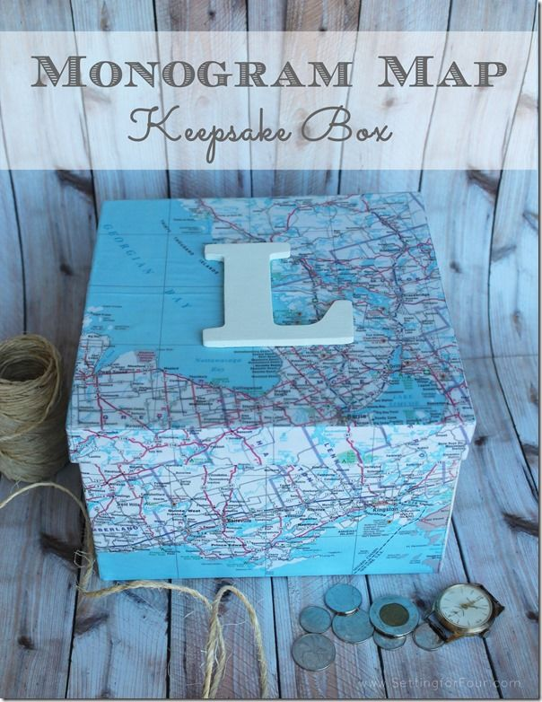 Love Map art and decor? Get organized and feature the places you have lived in and traveled to, that have special memories for your family with this sentimental Monogram Map Keepsake Box! This is an easy Mod Podge DIY! Great gift idea too! too. http://www.settingforfour.com/2013/05/monogram-map-keepsake-box.html