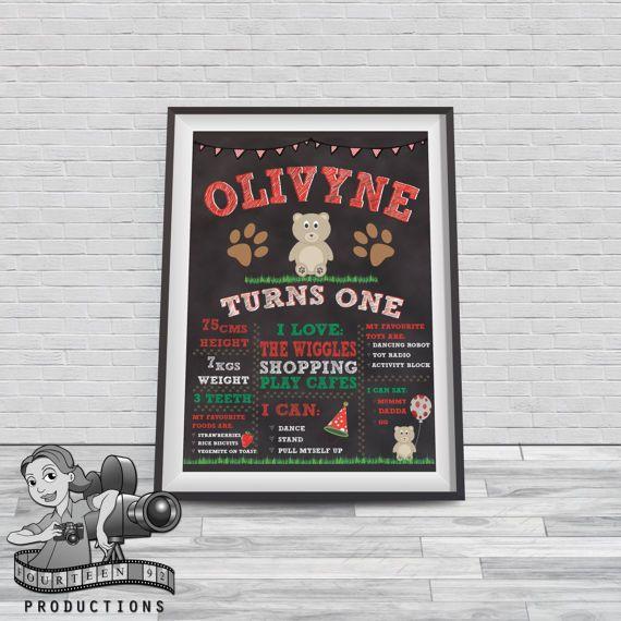 Teddy Bear Picnic Chalkboard Milestone Poster by fourteen92prod