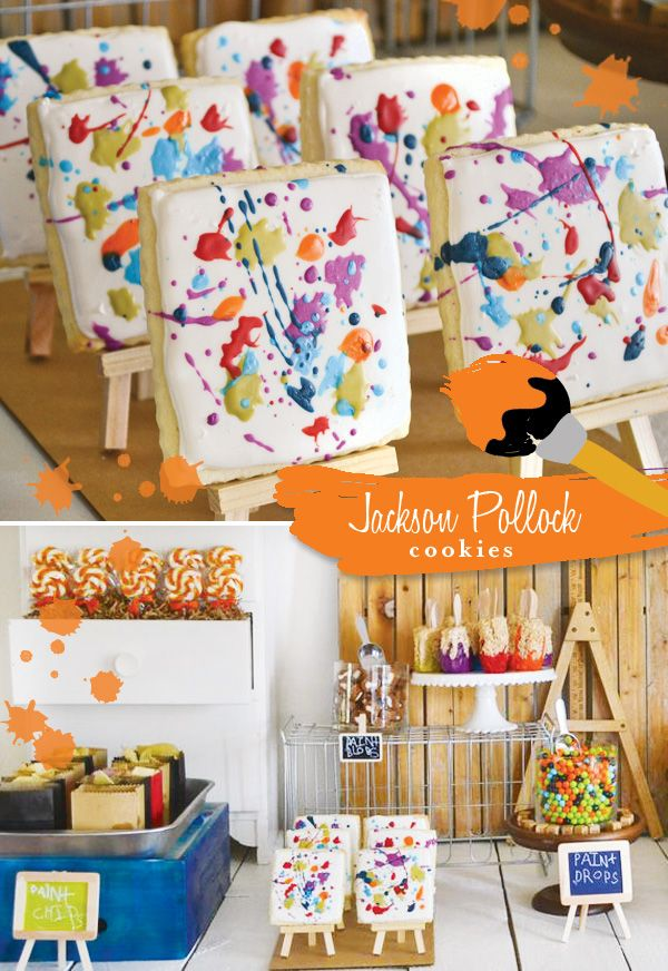Jackson Pollock Painted Cookies. I love how the cookies are on easels. That would perfect for the kids to decorate their own cookies for an art birthday party!!