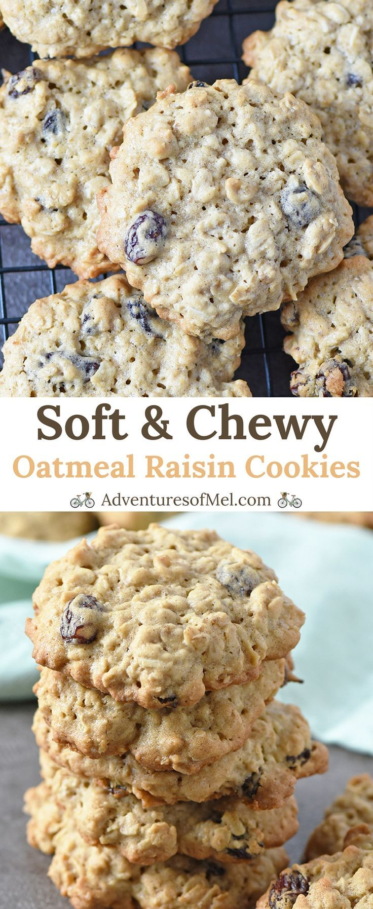 Oatmeal Raisin Cookies, made with brown sugar, cinnamon, and oatmeal, have a crispy outer edge and a soft, chewy middle. Delicious cookie recipe! #oatmealcookie #desserts #cookies #oatmeal