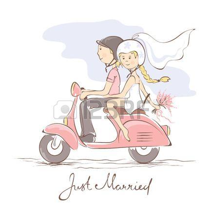 Los recién casados ??en un scooter Foto de archivo - 25957335