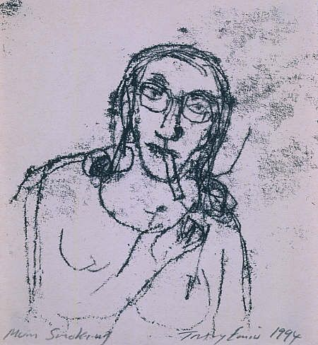Tracy Emin's 'Mum Smoking' a Monoprint drawing from a series in the exhibition