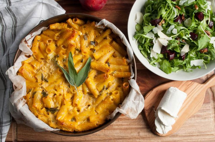 Rigatoni is baked in pumpkin custard flavored with leeks, goat cheese ...
