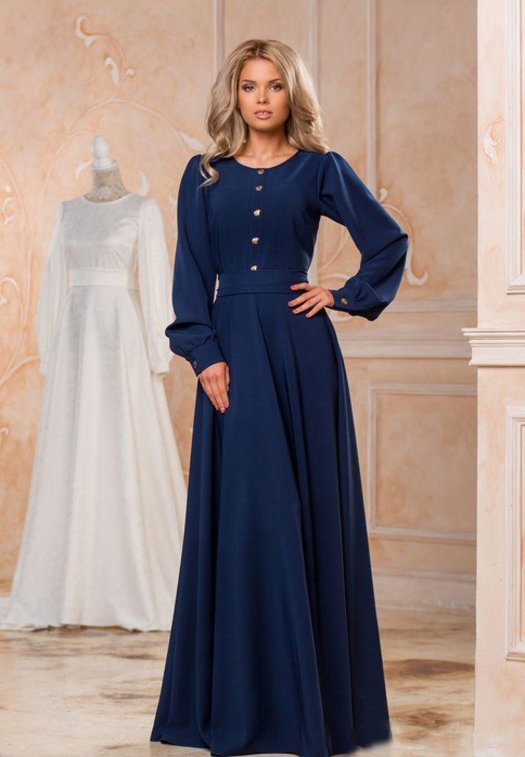 Blaues Langes Winterkleid Hairdresserhairstyles Club Modest Dresses Black Dress Outfits Designer Dresses