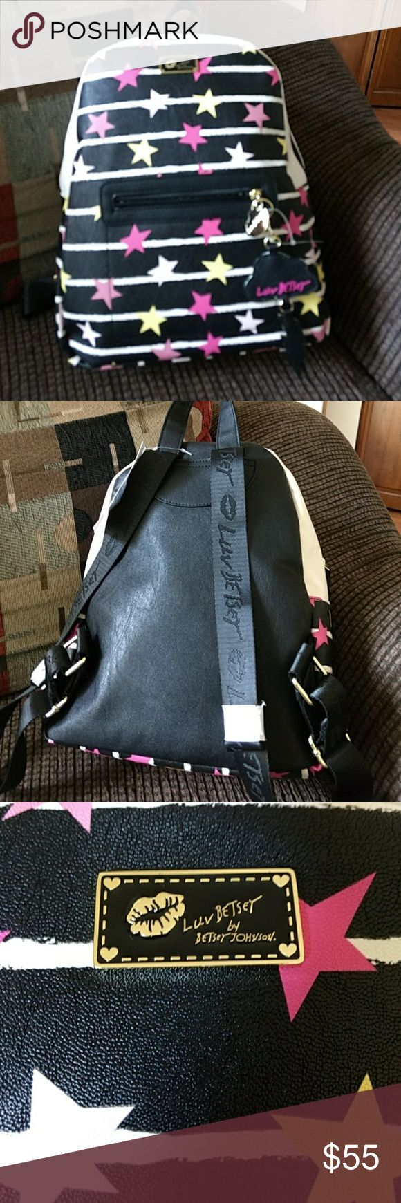Pink, yellow, black and cream backpack Betsey Johnson Midnight Backpack Betsey Johnson Bags Backpacks
