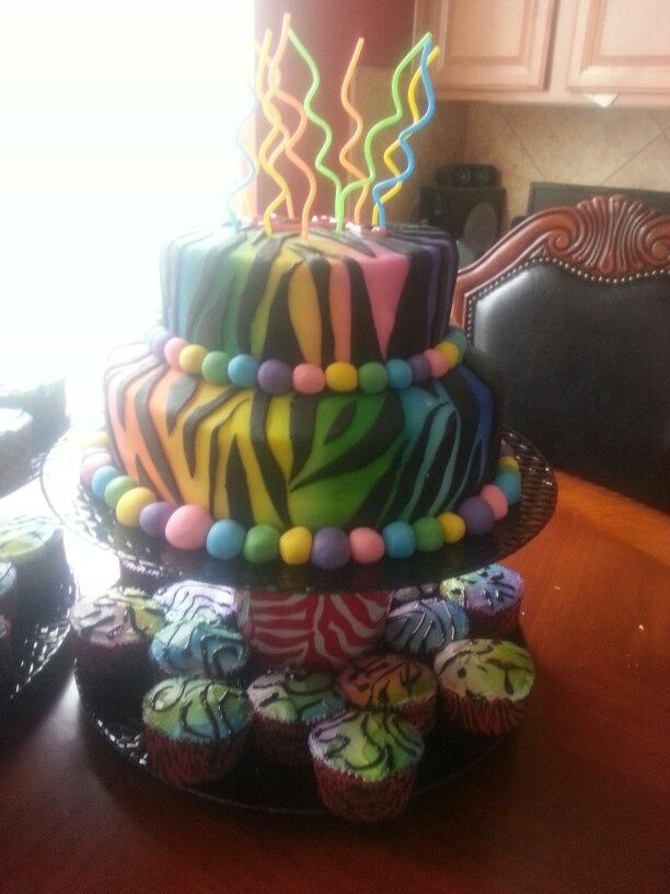Zebra cake and cupcakes which I ABSOLUTLY LOVE!!!!!!