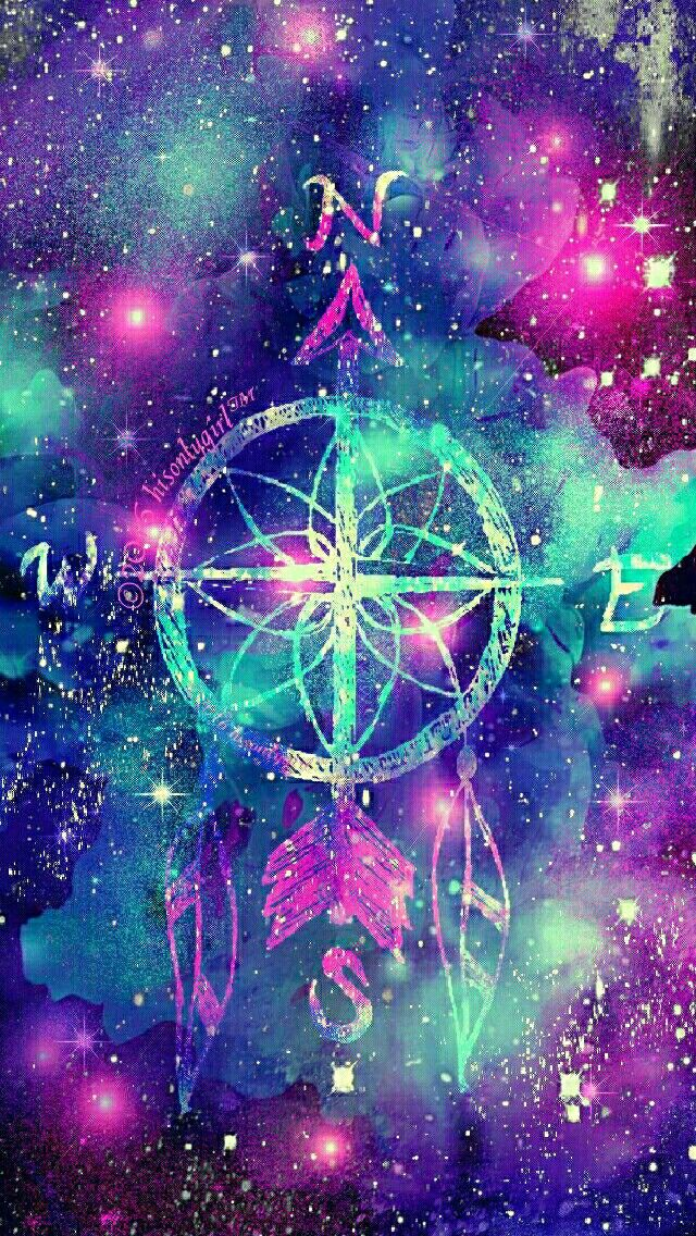 Dark compass  dreamcatcher galaxy iPhone/Android wallpaper I created for the app CocoPPa!
