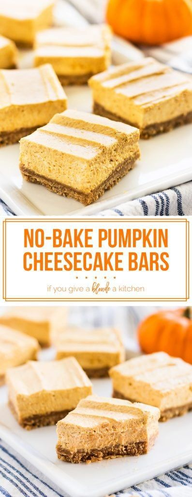 No bake pumpkin cheesecake bars are the perfect fall dessert. The light cheesecake is made in a blender with pumpkin spices. The graham cracker crust is buttery and sturdy! | www.ifyougiveablondeakitchen.com