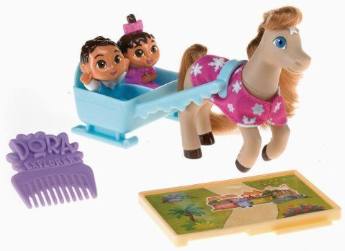 Fisher-Price Dora's Pony Adventures Playset: Twins & Snowdancer by Fisher-Price. $29.95. The Twins can ride in the carriage. Connect the pathway and jumping fences to other Pony Adventure playsets. Includes the Twins, pony, a comb, and a special puzzle-piece pathway. Create your own special pony adventures with the Twins and Snowdancer. Girls can groom the pony's mane and tail. From the Manufacturer                Go on a pony adventure with Dora's baby brother and sis...