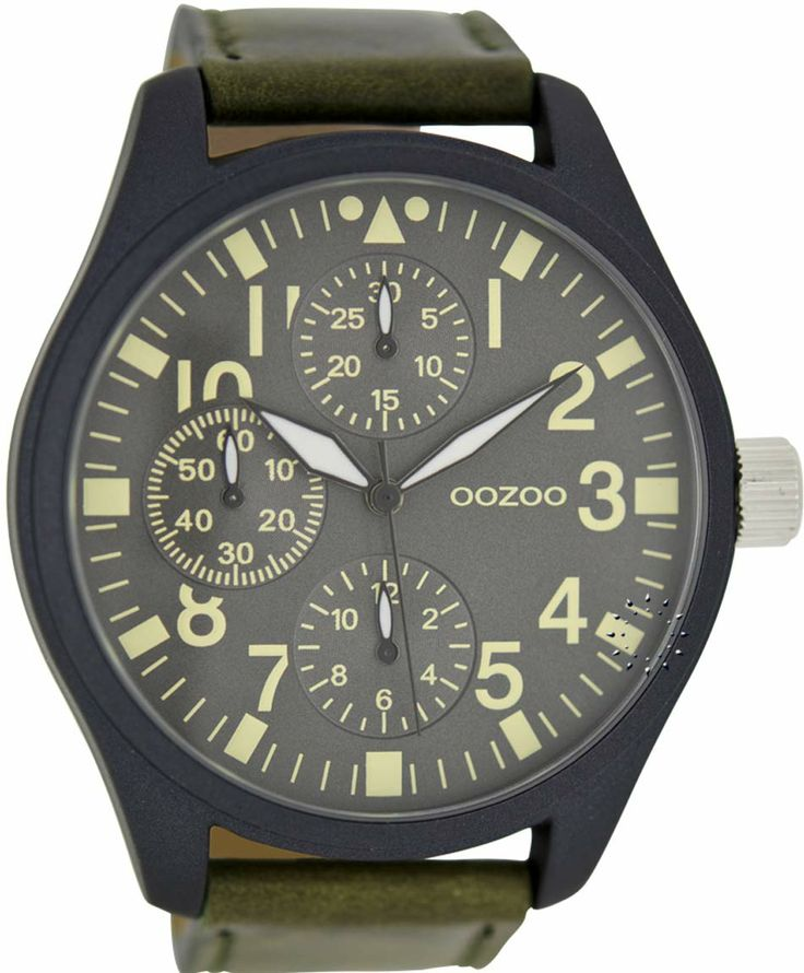 OOZOO Large Τimepieces Khaki Leather Strap Μοντέλο: C6052 Η τιμή μας: 69€ http://www.oroloi.gr/product_info.php?products_id=35864