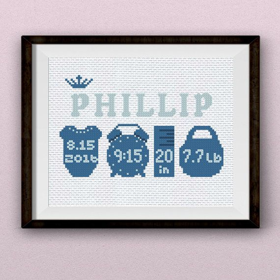 Stylish, gentle and simply great - Customized Baby Cross Stitch Pattern or Baby…