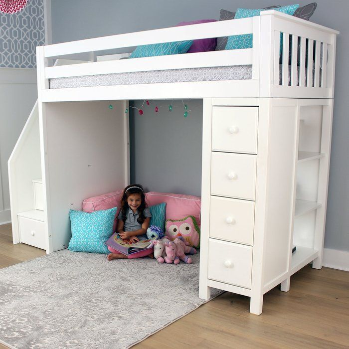 Ayres Twin Loft Bed With Drawers And Shelves Twin Loft Bed Loft
