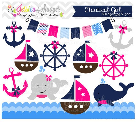 INSTANT DOWNLOAD, baby girl sailing clip art, whale clipart, sail boat, nautical graphic, commercial use for invitations, announcements