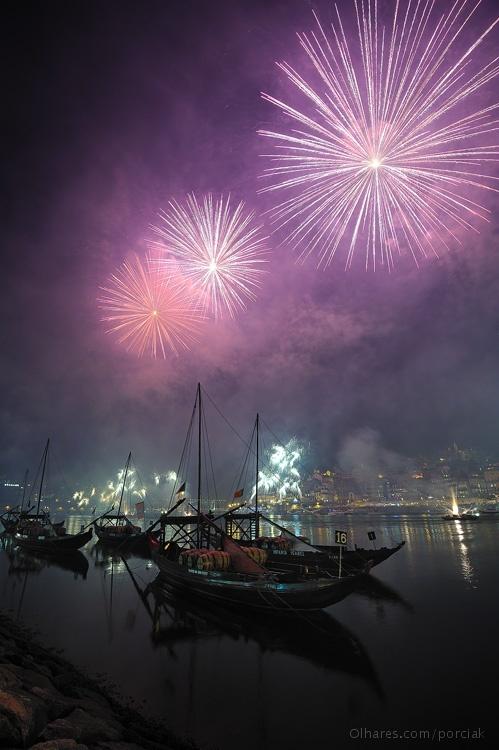 Fireworks celebration, São João festival in Porto, Portugal -- I can imagine how beautiful this is.