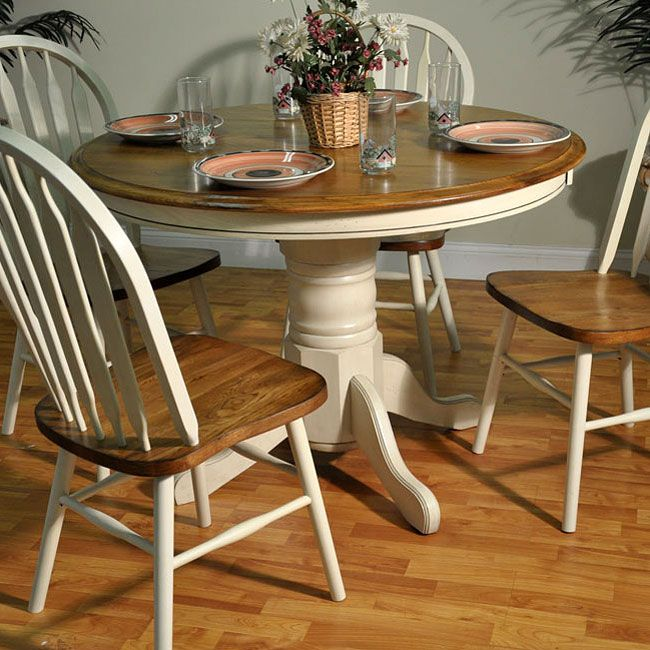 Welcome The Refreshing Design Of Antique White And Oak Round Dining Room Collection By ECI