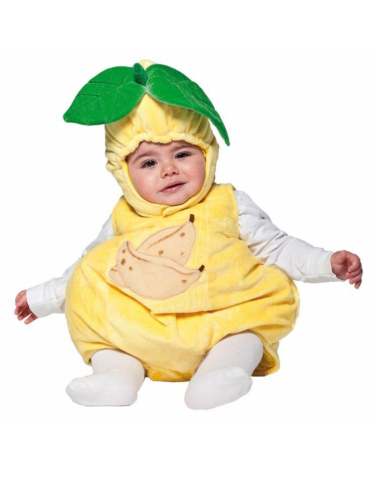 Déguisement Banane bébé : Ce déguisement de banane pour bébé se compose d'une combinaison et d'une cagoule (tee-shirt et collant non inclus).La combinaison est de couleur jaune avec des bananes...